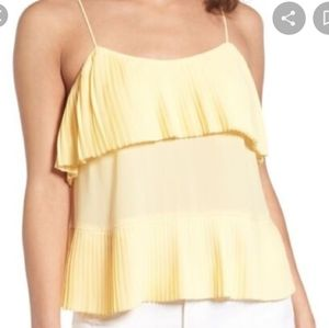 NWT Leith soft yellow pleated camisole top